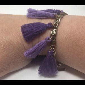 Gold Greek Key and Purple TASSEL Bracelet